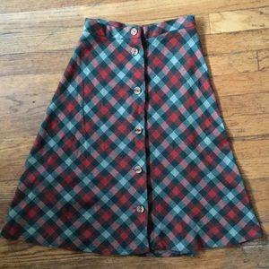 Vintage Red Green Plaid Picnic Skirt XS